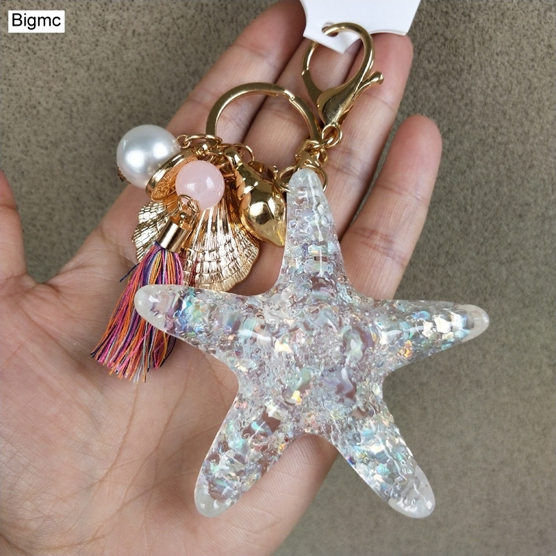 Starfis Keychain - Crystal Starfish Keychain Lovers Seashells Metal Car Key Ring Pendants Bag Chain Best Gift Jewelry K1607