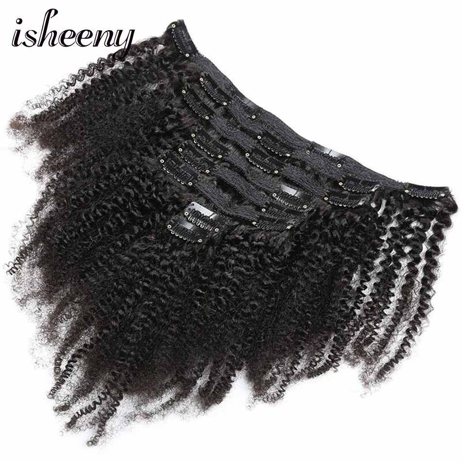"Isheeny 8pcs/set Afro Kinky Curly Wave Human Hair Clip In Hair Extensions 8""-20"" Natural Color 120g Middle Thick Remy Hair"