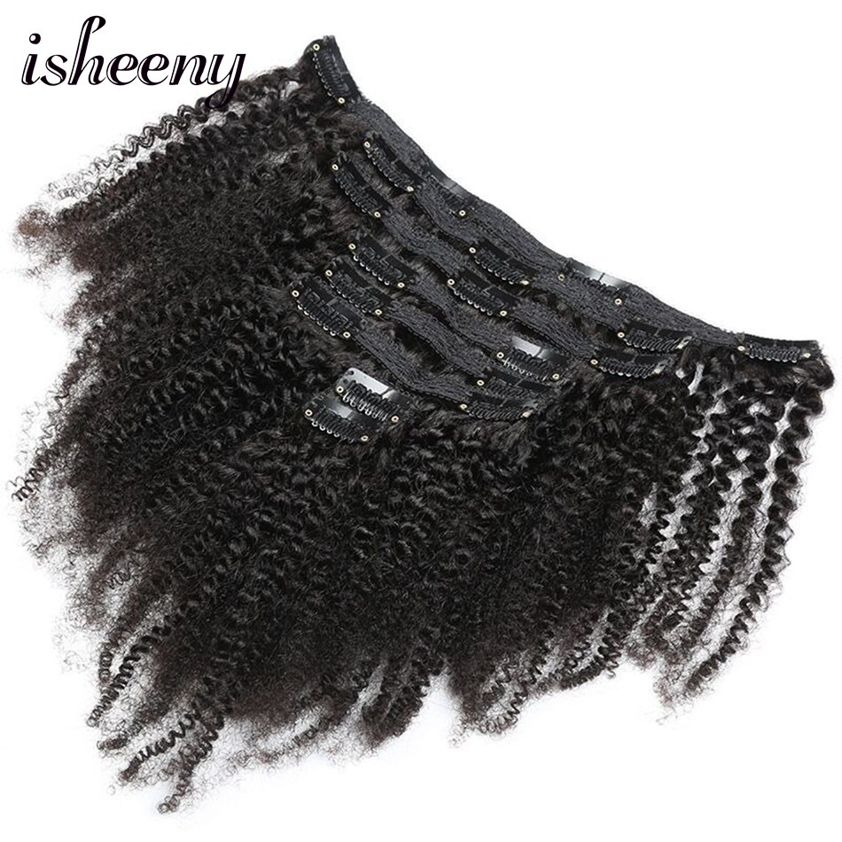 """Isheeny 8pcs/set Afro Kinky Curly Wave Human Hair Clip In Hair Extensions 8""""-20"""" Natural Color 120g Middle Thick Remy Hair"""
