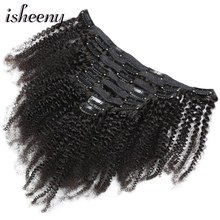 Isheeny 8pcs/set Afro Kinky Curly Wave Human Hair Clip In Extensions 8-20 Natural Color 120g Middle Thick Remy