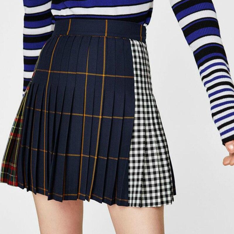 Patch Work 3 Tone Elegent Pleated Spring Slim Plaid Mori Girl Embroidery 2018 Sexy High Waist Back Solid Women Mini Skirt