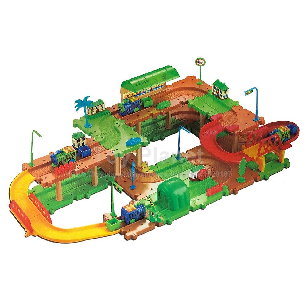 Thomas And Friends 69pcs Building Tramroad Blocks Miniature Railway Train Blocks Assembling Toy Car Parking Lots Track Railroad