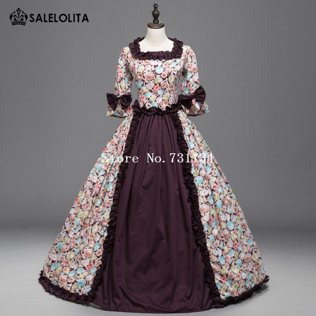 Renaissance Colonial Priness Dress Floral Ball Gown with Long ...