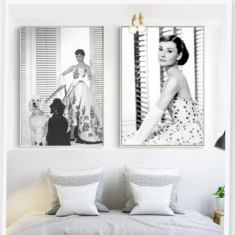 New Nordic Creative Popular Tribute To Classic Audrey Hepburn  Decorative Customization Painting For Children's Bedroom