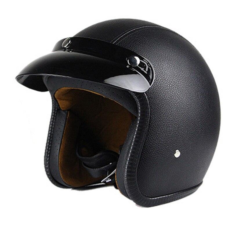 Homme femmes casco vintage scooter casque jet moto noir blanc casques pilot open face vespa casque pare moto cascos para