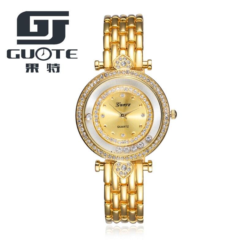 2017 New Fashion Brand Guote Luxury Quartz-watch Ladies Watch women Gold Rhinestone Bracelet Waterproof Watches with Girl Gift