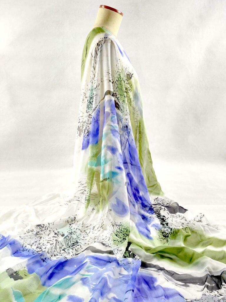 ᗛTelas 100% Pure natural Mulberry seda gasa digital impreso azul ...