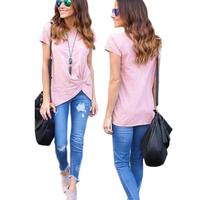 New 2017 Women Fashion Summer Casual Loose Short Sleeve Tops Casual Solid T-shirt Pink Black Gray White