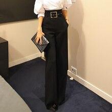Новые модные женские брюки с высокой талией, женские широкие брюки с поясом, Деловые женские длинные брюки, женские брюки размера плюс
