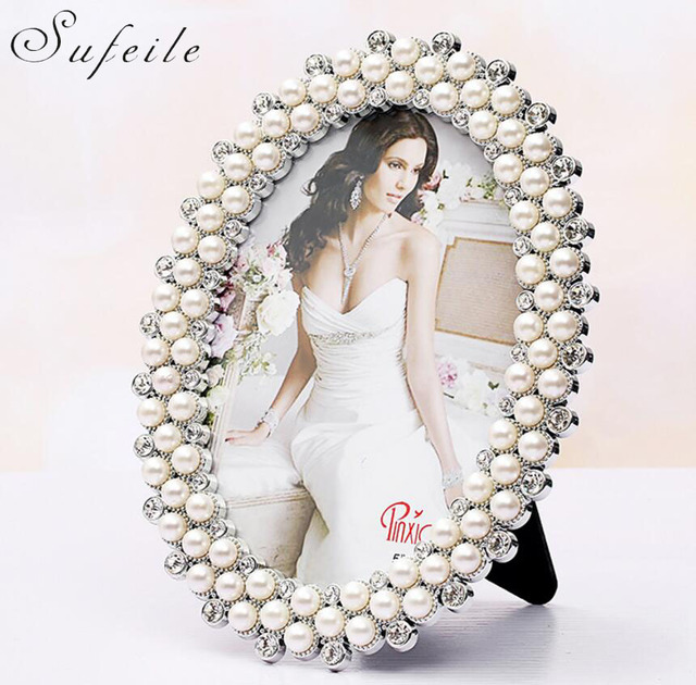 SUFEILE European oval photo frame wedding photo double pearl diamond ...