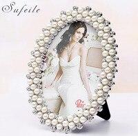 SUFEILE Europejskiej owalna ramka na zdjęcia ślubne zdjęcia pokój pearl diament pendulum prezent ślubny 7 cal obrazek miejsce na stole D20
