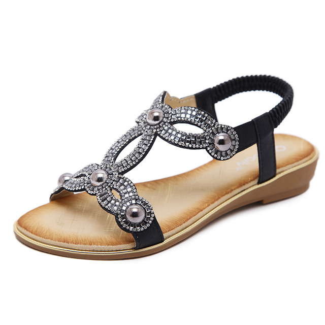 5b1e1b80e4459c Shoes Women Bohemia Ethnic Flip Flops Rhinestone pearl Soft Flat Sandals  Woman Casual Comfortable Plus Size Wedge Sandals 35-42