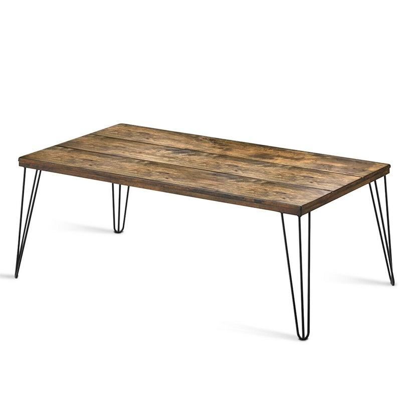 Prime Us 92 26 30 Off Mixed Stylish Rustic Industrial Solid Wood Rectangular Cocktail Coffee Table Large Rustic Wood Surface Rugged Metal Legs Hw60876 In Machost Co Dining Chair Design Ideas Machostcouk