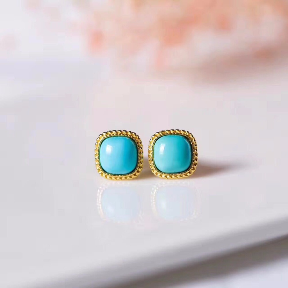 New Fashion Natural Gemstone 925 Sterling Silver Earrings For Women,Glod Colour Turquoise Silver Earrings For Women Gift