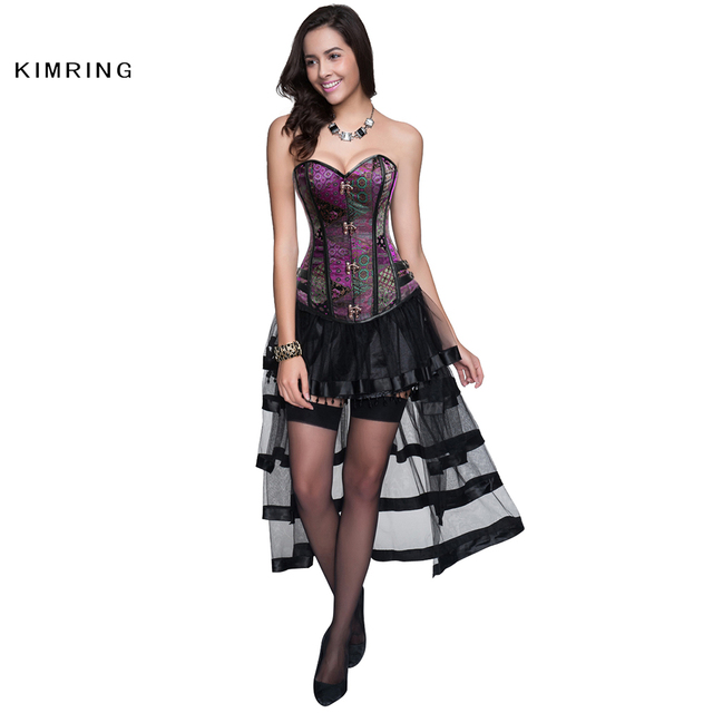 Kimring Vintage Steampunk Corset Dress Gothic Overbust Corset Dress Waist Bustier Top Corset Steel Boned Corset and Bustiers