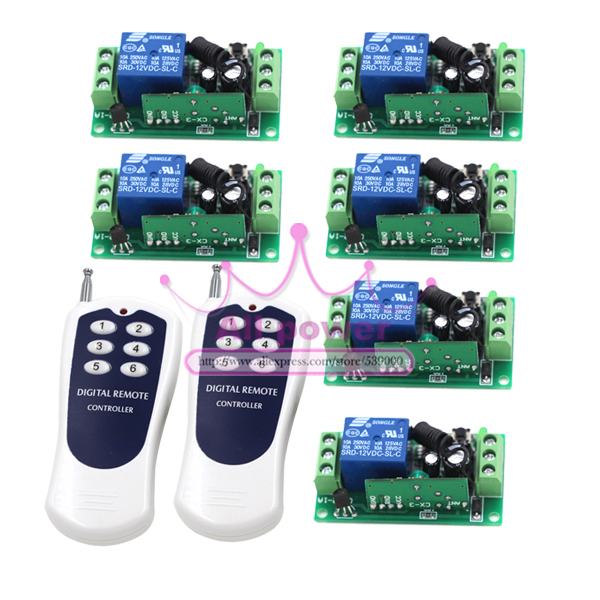 DC 12V 10A 1 CH 1CH RF Wireless Remote Control Switch System Water Proof 2Transmitters + 6Receiver 2pcs receiver transmitters with 2 dual button remote control wireless remote control switch led light lamp remote on off system