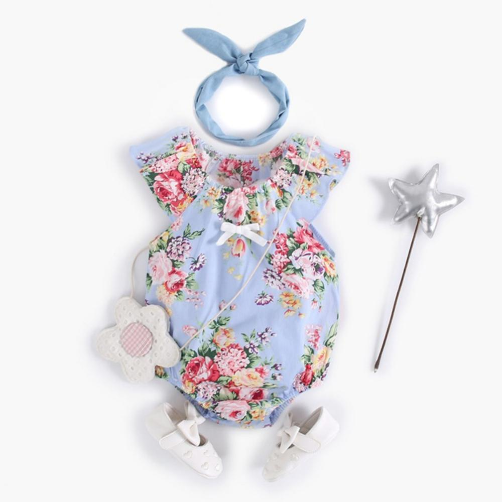 Summer Newborn Baby Girls Floral Set Flare Sleeve Bodysuit Jumpsuit With Headband 0-3T