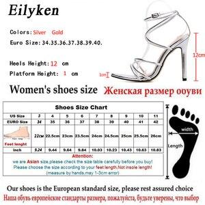 Image 5 - Eilyken/новые женские сандалии в римском стиле на высоком каблуке 12 см, с открытым носком, золотистого/серебристого цвета