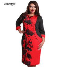 New 2017 Women Dress Elegant Plus Size 5XL Casual  Patchwork floral print Women Clothing Summer Style Vestidos Femininos 6XL