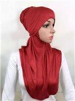 LJ6 модальный Двухсекционный мусульманский хиджаб шарф модный хиджаб оголовье шарф - Цвет: LJ60001