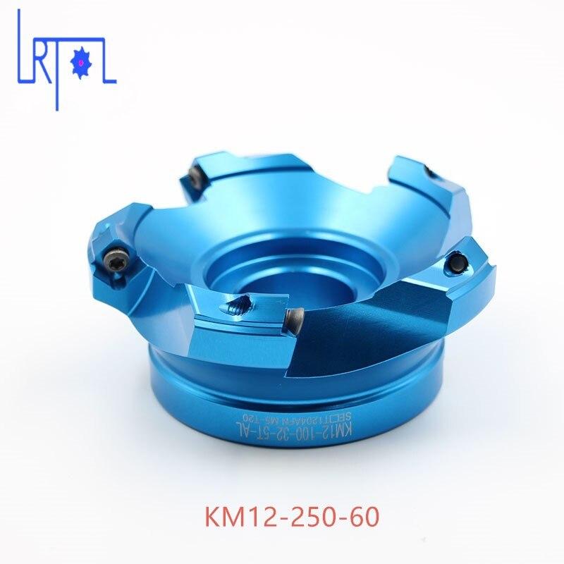 10 cannelures KM12-250-60 aluminium moulin Visage aileron Carbure Alliage pour Lourd CNC Fraisage de Coupe