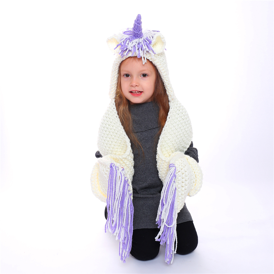 3 Colors High Quality Children Knitted Unicorn Hat Scarf Set Lovely Animal Warm Knitting Caps Scarves for Boys Girls Winter Wrap