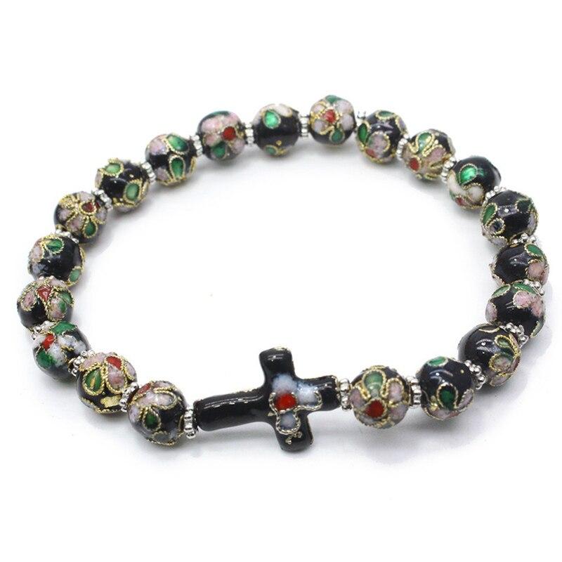 2019 Hot Sell Elastic Glass Glaze Fashion Bracelet Jesus Jewelry Rosary Centerpiece Sacred Mercy Jesus Saint Icons Religious