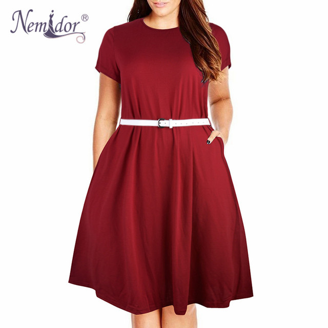 Women Summer Vintage Short Sleeve 50s Party Belted A-line Dress Stretchy Midi Plus Size 7XL 8XL With Pockets