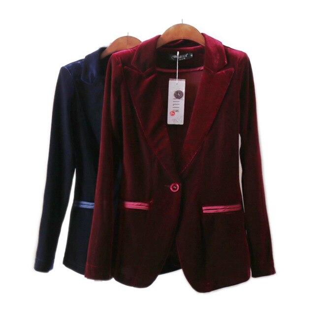 buy women red velvet blazer bleu marine ladies blazer single button femme suit. Black Bedroom Furniture Sets. Home Design Ideas