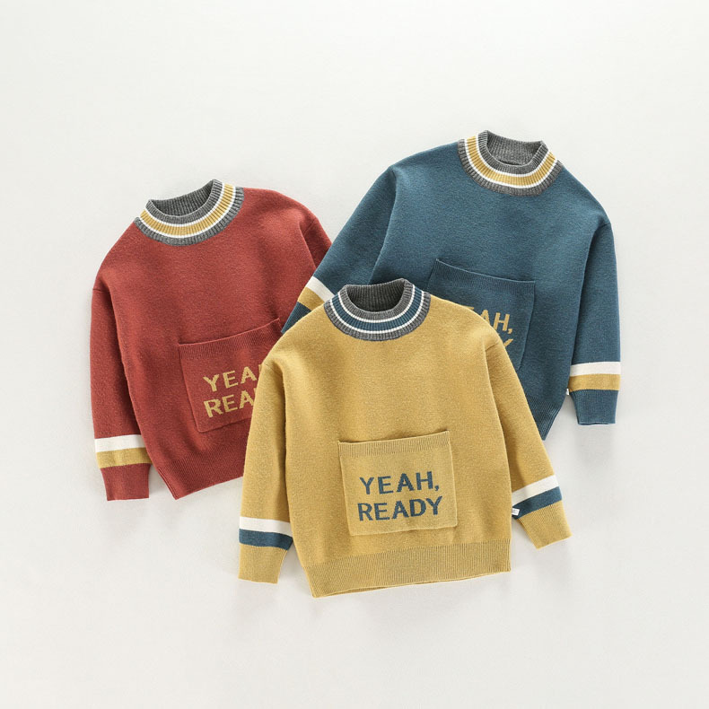 Autumn Winter Toddler Boys Sweater Baby Kids Knitwear Letter Striped Pattern Long Sleeve Pullover Baby Girl Top Children Clothes 2018 autumn winter boys sweaters fashion blue kids knit pullovers jumper solid long sleeve toddler knitwear top children clothes page 2