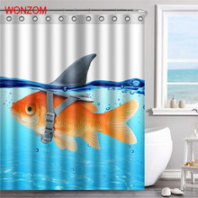 WONZOM Fish Polyester Fabric Dog Shower Curtain Bathroom Decor Frog Waterproof Animal Cortina De Bano With 12 Hooks Gift 2017