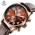 Mens relógios top marca de luxo cronógrafo ochstin homens militar esporte relógio de pulso de couro casual relógio de quartzo relogio masculino