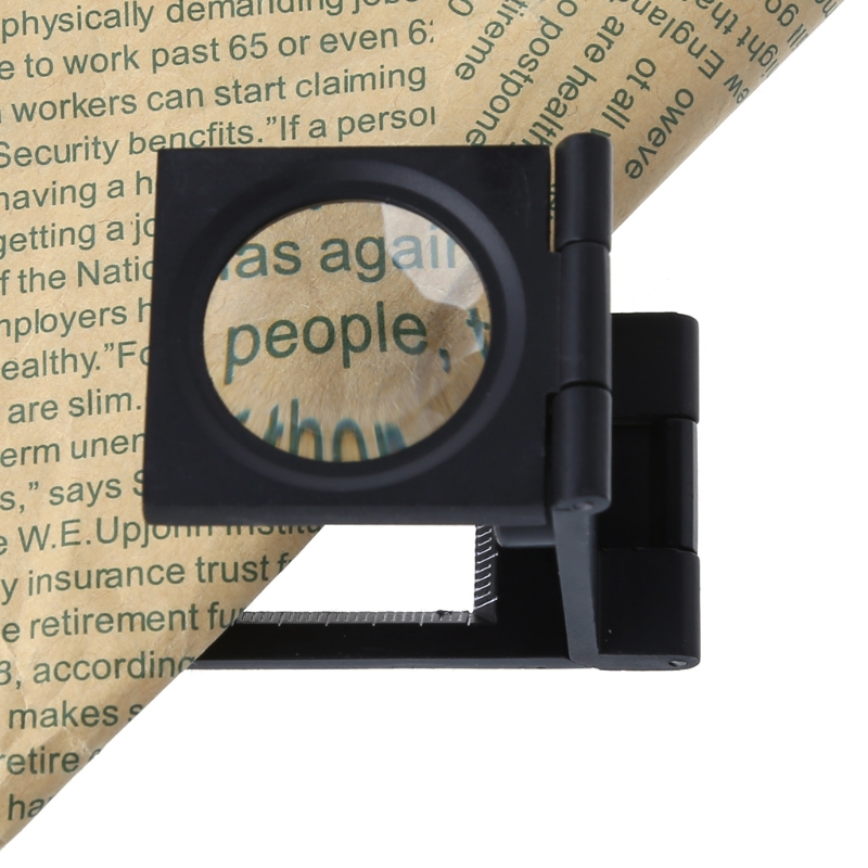 OOTDTY 10 Times Magnifier Magnifying Glass Power Foldable LED Light Lens Desk Top Loupe