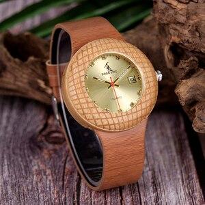 Image 4 - BOBO kuş kadın ahşap saatler bayanlar Metal anlamıyla ile deri kayışlar takvim kol saati gösterisi tarihi özel logo kuş yuvası