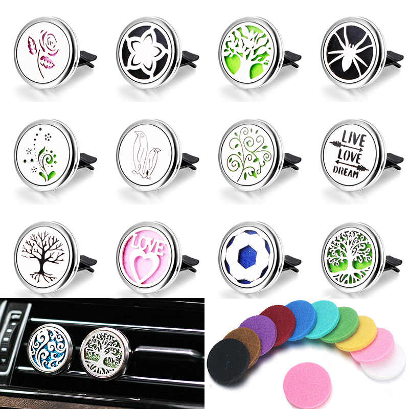 316L Styles Car Air Vent Freshener Perfume Diffuser Car Clip Aromatherapy Essential Oil Diffuser Locket Stainless Steel Necklace