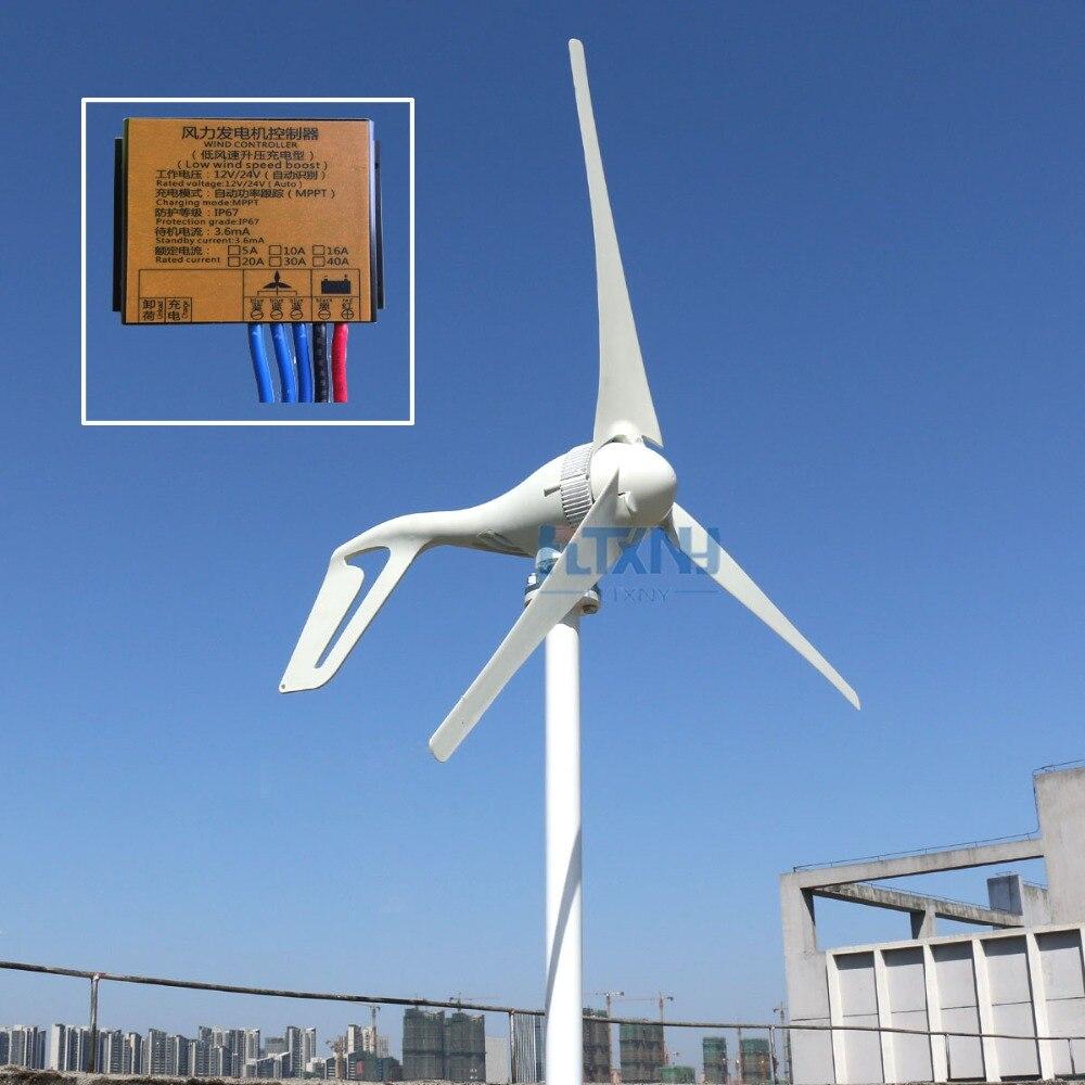400 w vent turbine générateur 12 v 24 v 48 v moulin à vent 3 lames 5 lames avec MPPT contrôleur horizontal axies vent générateur