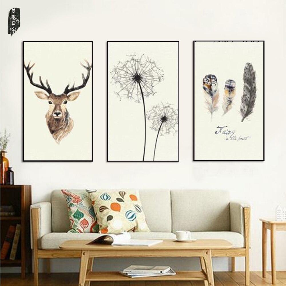 ⑥Plumas pared ciervos pintura posters e impresiones decoración ...