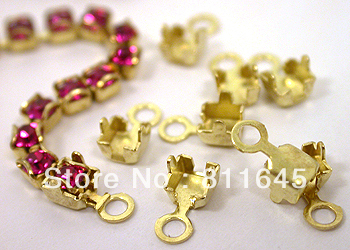 SS24 Rhinestone cup chain end caps 200pcs/lot CPAM free Golden base, garment accessories