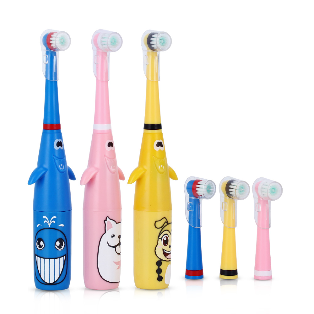 New 3D Children Electric Toothbrush Cartoon Pattern Rotating Tooth Brush with Replacement Heads Battery Type for Kids Waterproof Зубная щётка