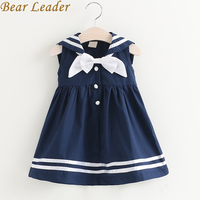 Bear Leader Girls Dress 2017 New Summer Preppy Style Dress Bow Sleeveless Turn Down Collar Striped