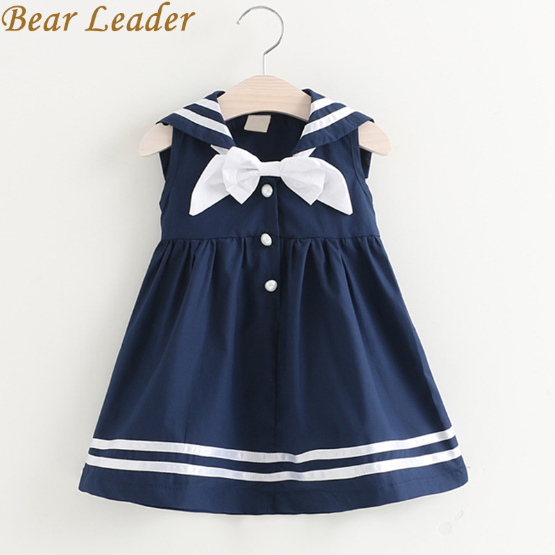 Bear Leader Girls Dress 2017 New Summer Preppy Style Dress Bow Sleeveless Turn-down Collar Striped Design for Baby Girls Dress bear leader girls dress 2017 new summer style printing girls clothes sleeveless rose floral design for girls princess dress 3 8y