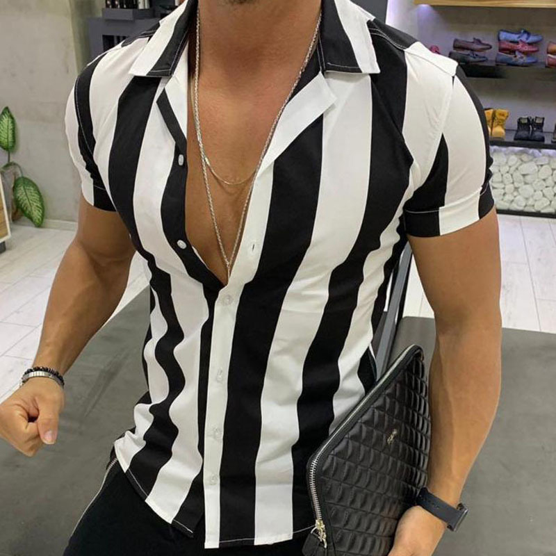 2019 Summer Hawaiian Men Shirt Short Sleeve Beach Blouse Top Blouse Turn - down Collar Short Stripe Casual Shirts Dropshipping