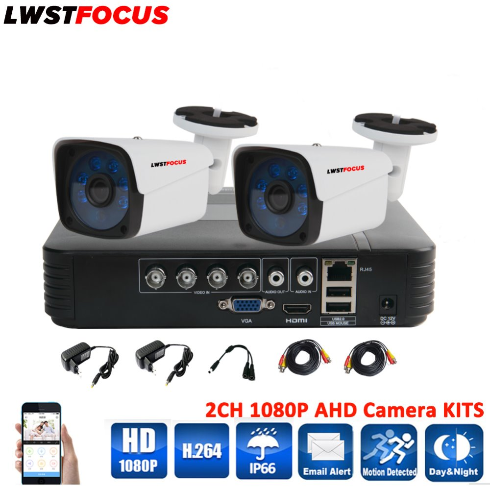 LWSTFOCUS 4CH CCTV Security Camera System AHD 1080N DVR 2PCS 1080P CCTV Day/Night Vision Bullet Camera Home Surveillance DVR Kit