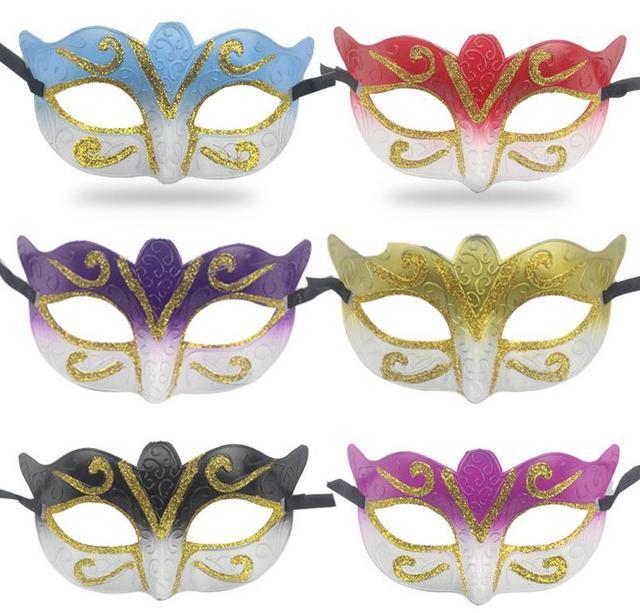 Promotion Selling Party Mask With Gold Glitter Mask Venetian Unisex Sparkle  Masquerade Venetian Mask Mardi Gras Masks Masquerade