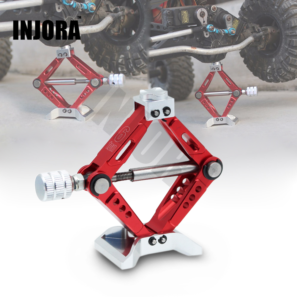 INJORA RC Car 1:10 Scale Adjustable Metal Scissor Jack Tool for RC Crawler Axial SCX10 Traxxas TRX4 Tamiya CC01 D90 metal 6 ton scissor jack stand height adjustable for 1 10 rc rc4wd d90 scx10 tamiya cc01 crawler car part