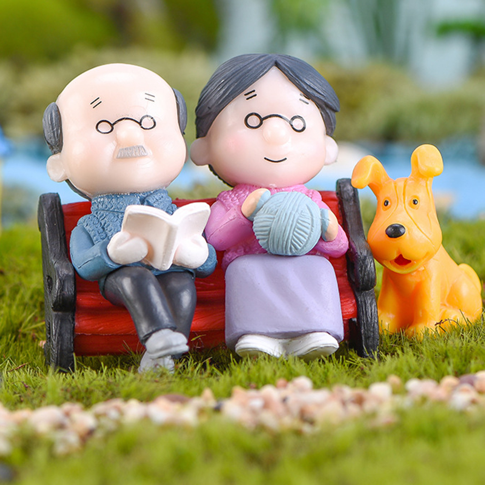 1 Set High Simulation Mini Park Bench Grandpa Grandma Model Miniature Landscape Garden Decor Ornament