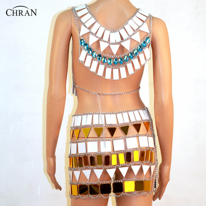 Chran Sonus Festival Outfit Crop Top Chain Bra Harness Necklace Body Lingerie Metallic Bikini Skirt Beach Party Jewelry CRM803