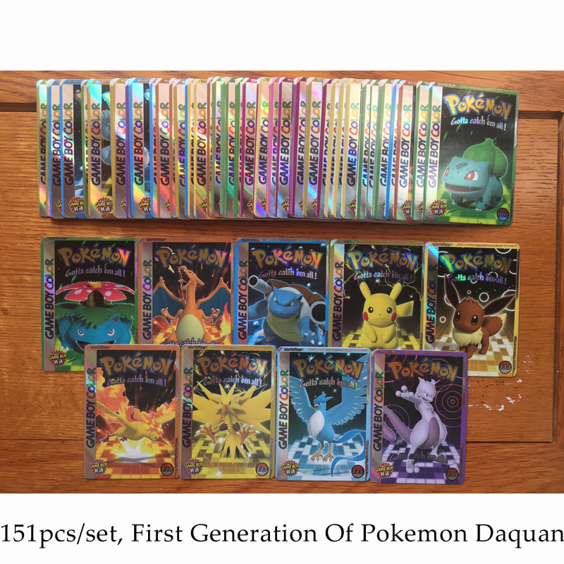 Pokemon GBC Cover Flash Card NS Platform 3D Pikachu Version Engraving Style Classic Plaid Flash Card Collection Gift Kids Toys