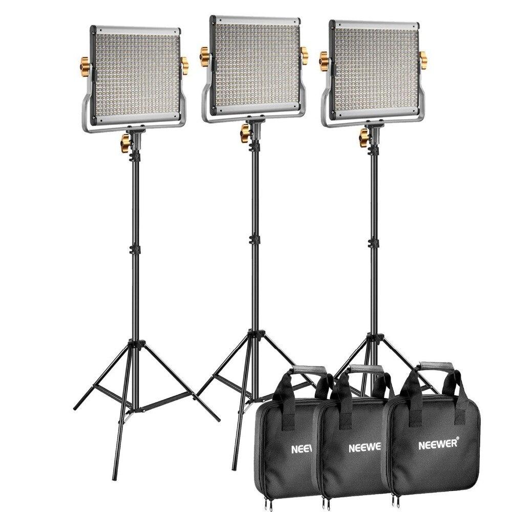 Neewer 3 Packs Dimmable Bi-couleur 480 LED Vidéo Lumière et Éclairage Stand Kit pour YouTube Studio Photographie, vidéo