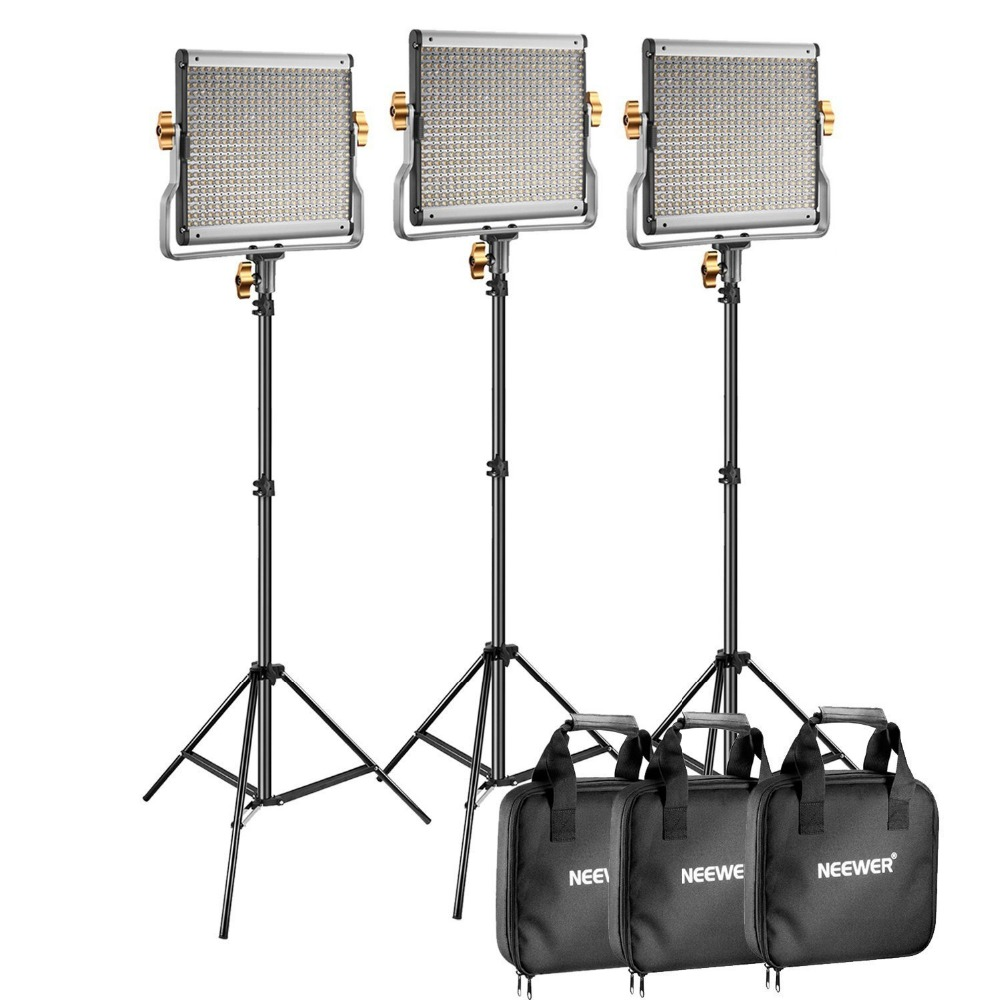 Neewer 3 Packs Dimmerabile Bi-color 480 LED Video Luce e Illuminazione Stand Kit per YouTube Fotografia In Studio, video